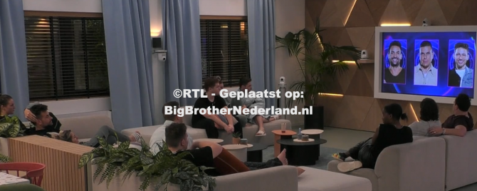 Big Brother laat aan Michel, Jerrel en Nick weten dat ze genomineerd zijn