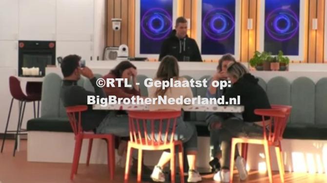 De bewoners lezen actueel nieuws uit de kranten in het Big Brother huis
